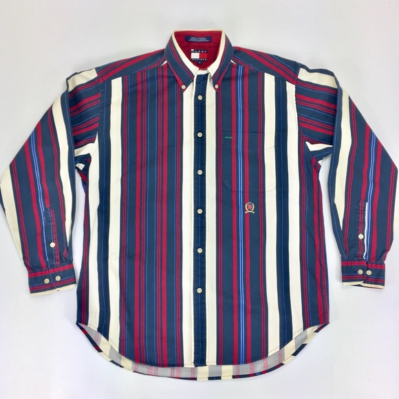 9e5c448f Vintage Tommy Hilfiger Color Block Striped Shirt. M_5abbaf7c6bf5a6fe6dd5b443